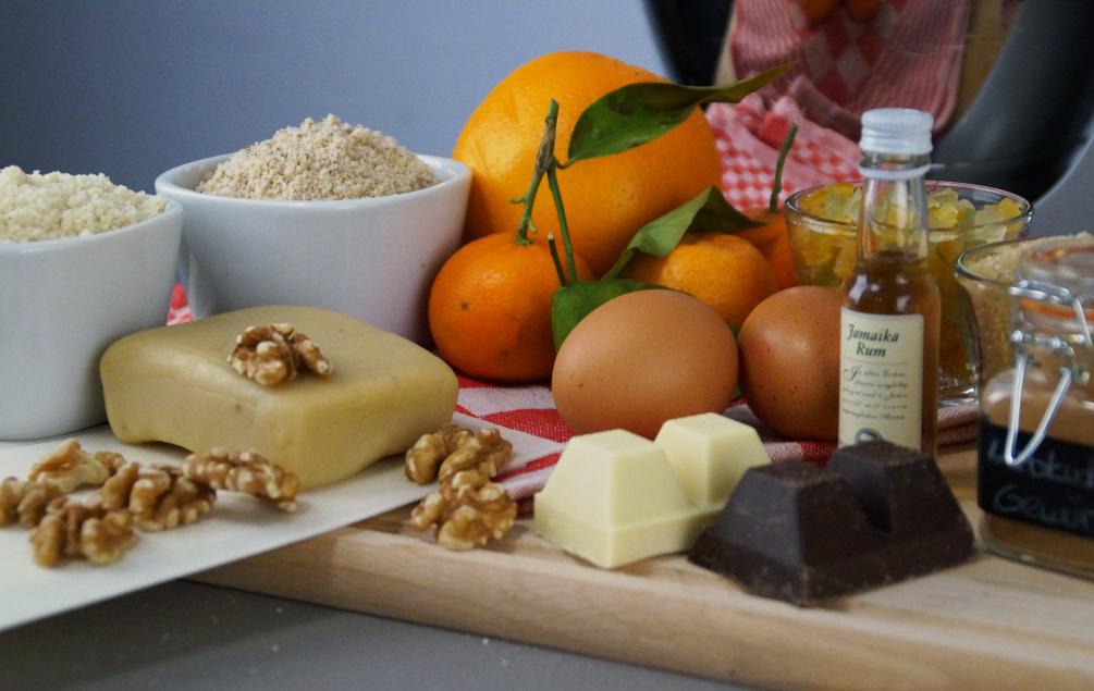 Lebkuchenpralinen mit Orangenmarzipan - Die Zutaten